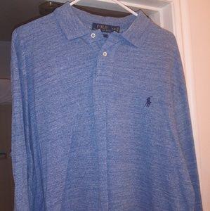 2x men's blue denim polo shirt